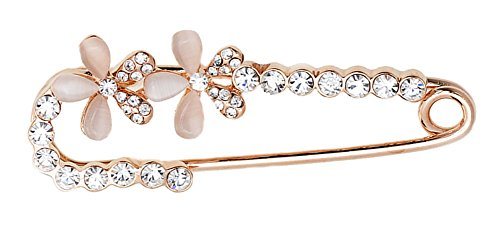 Maikun Butterfly Scarf Clip Faux-Pearl Diamante Pin Brooch Gift for Valentine's Day