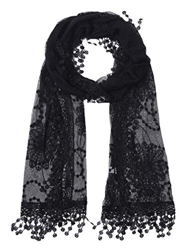 Cindy and Wendy Lightweight Soft Leaf Lace Fringes Scarf shawl for Women (TYH-BLACK) (Scart Cable Ntsc Snes)