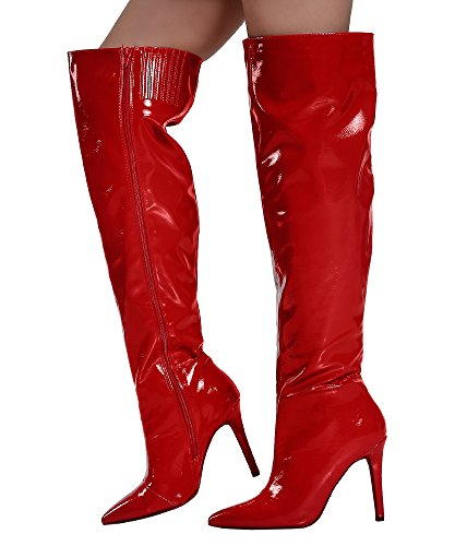 RF ROOM OF FASHION Women's OTK Boots - Vegan Mirror Metallic Shiny Patent Leather - Pointy Toe Stiletto Heel Over The Knee Boots -MI27 Red (Metallic Leather Knee Boot)