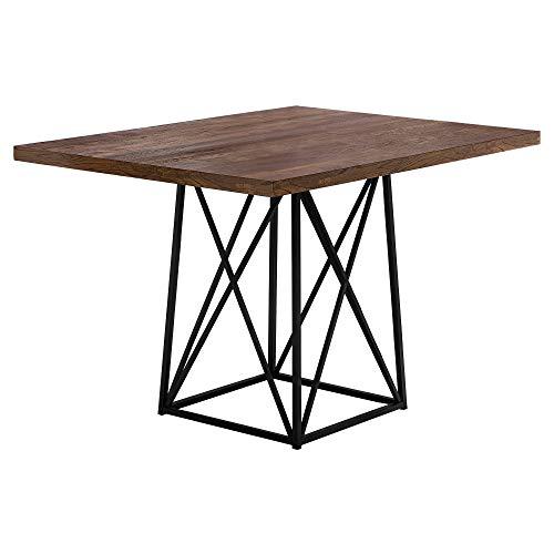 """Monarch Specialties 1107 Dining Table Metal, 36"""" x 48"""", Brown Reclaimed Wood-Look/Black Base"""