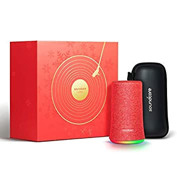 Bluetooth Speaker, Soundcore Flare Portable Wireless Speaker by Anker, 360 Sound and LED Ambient Light, IPX7 Waterproof Long Playtime for Parties, Limited Edition with Travel Case – Red