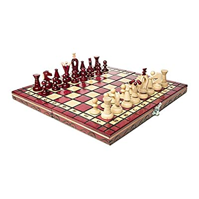 Wooden Chess Set Paris Cherry Wooden International Board Vintage Carved Pieces: Toys & Games