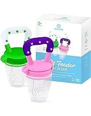 Baby Fruitspeen Set van 2 fruitspenen voor kinderen, 100% BPA-vrije siliconen (roze)