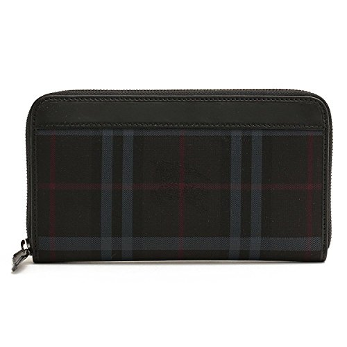 Burberry Horseferry Charcoal Check Men's Long Zip Around Wallet