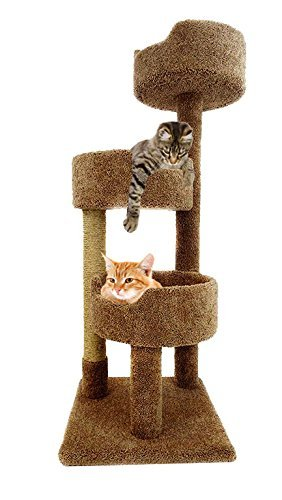 CozyCatFurniture Wooden Cat Tower for Large Cats 52 inch in Brown Carpet Kitty Tree with 3 Large Beds