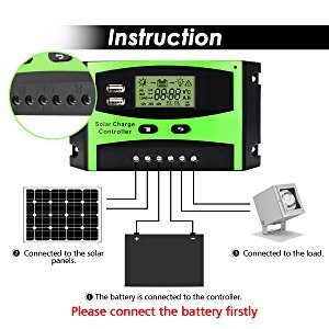 MOHOO Solar Charge Controller, 30A Solar Charger Controller, 12V/24V Solar Panel Intelligent Regulator with Dual USB Port and PWM LCD Display by MOHOO (Image #1)