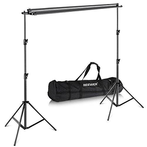 - Neewer Triple Background Backdrop Support System with Carrying Case - Maximum 10x10 feet/3x3 meters(Height x Width) for Photography Muslin, Paper and Canvas Backdrop for Photo Video Studio Shooting