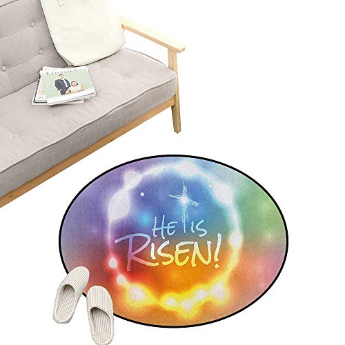 Colorful Round Rug ,He Has Risen Theme Quote with Abstract Colorful Fantasy Dreamlike Composition, Flannel Microfiber Non-Slip Soft Absorbent 47