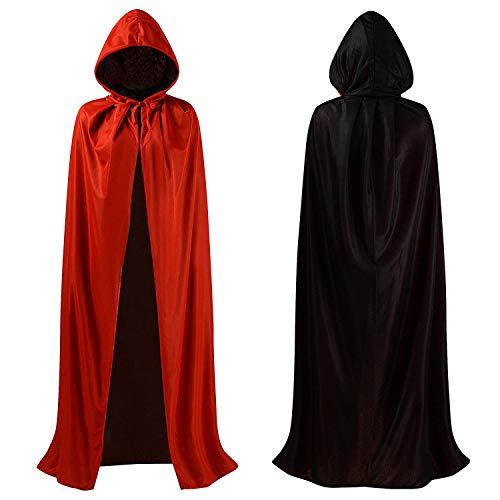 DingGuagua Unisex Christmas Halloween Witch Knight Reversible Hooded Robe Adult Kids Vampires Cape Cloak Cosplay Costume