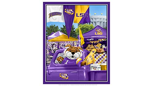 LSU Tigers Cotton Fabric Panel with Tailgate Design-Sold by The Panel
