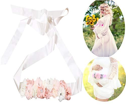 Cinturón de maternidad con flor y cinturón para fotografía, C-off White, 72'