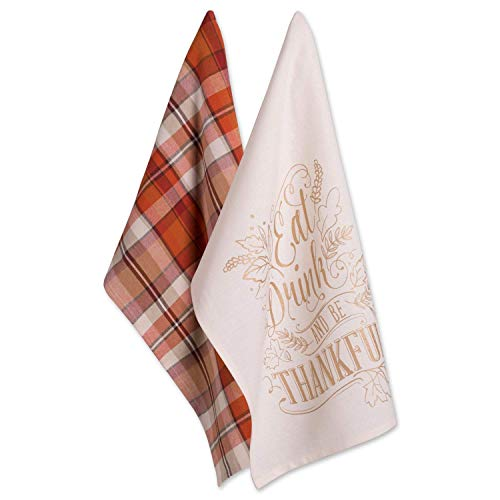 DII 100% Cotton 18x28 Thanksgiving Dish Towels Set of 2-Be Thankful, Plaid