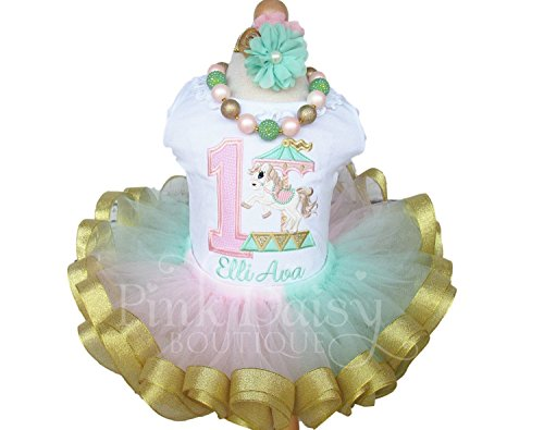 Girls Carousel Birthday Tutu Outfit with Personalized Shirt and Ribbon Trim Tutu in Pink Mint Gold