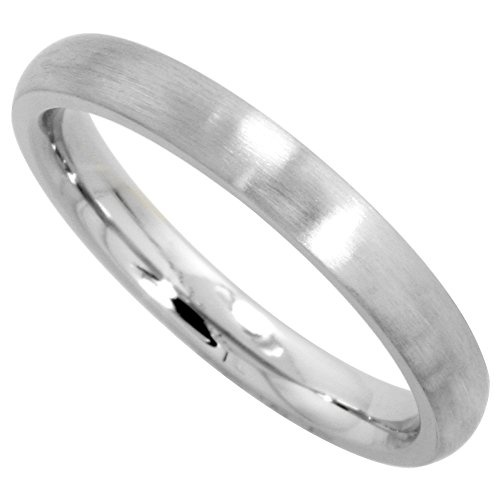 Surgical Stainless Steel 3mm Domed Wedding Band Thumb / Toe Ring Comfort-Fit Matte Finish, size (3mm Thumb Ring)