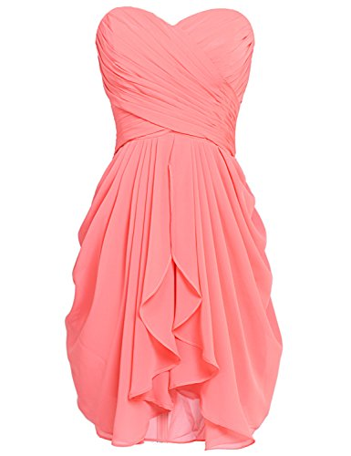 Strapless Chiffon Gown - Sarahbridal Juniors Short Strapless Chiffon Prom Dreses Knee Length Homecoming Party Gowns Coral US8