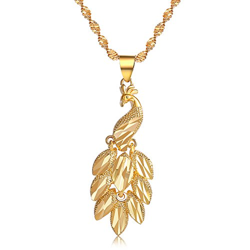 CULOVITY Gold Filled Phoenix Pendant Necklaces - Symbol of New Beginnings Necklace Twisted Singapore Chain for Women Girls Gift (Bird Pendant Gold Plated Jewelry)