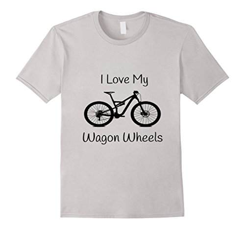 Mens Mountain Bike T-Shirt Wagon Wheels 29er Small Silver