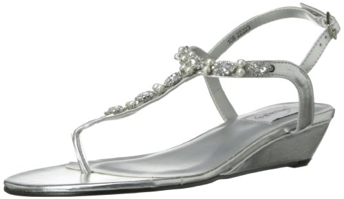 Wedge Dyeable Shoes - Dyeables Women's Myra Manmade Dress Sandal,Silver Metallic,12 B US
