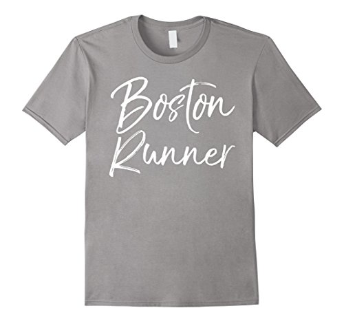 Mens Boston Runner Shirt Fun Massachusetts Workout & Fitness Tee Small Slate Boston Design Studio