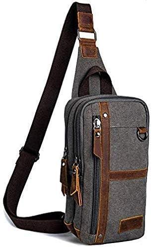 Chest Bag Color : Gray, Size : 30168cm Mens Chest Bag Vintage Shoulder Crossbody Bag Fashion Casual Mens Bag Army Green 30 16 8Cm KUNNGG