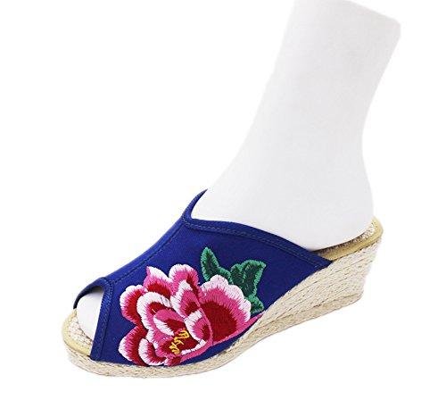 AvaCostume Womens Chinese Peony Fashion Platform Wedges Slippers Blue PnI5NVqFx6