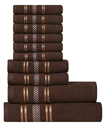 Extra Light Weight 10 Piece Family Towel Set - Cappuchino Brown 100% Natural Ring-spun finest quality cotton yarn, 400 GSM, Soft, Absorbent, Durable, Reasonable, Quick Dry - DIVINE Essence (Family Set Towels)