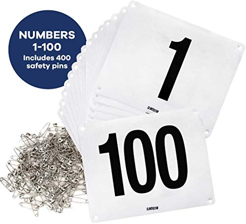 High Numbered - Clinch Star Running Bib Large Numbers with Safety Pins for Marathon Races and Events - Tyvek Tearproof and Waterproof 6 X 7.5 Inches (Numbers 1-100)