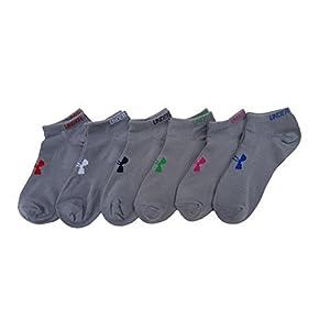 Under Armour Heatgear Womens Training No-show Socks, 6 Pair (M, Grey)