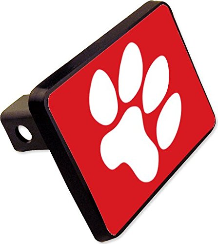 Red Paw Print Trailer Hitch Cover Plug Funny Dog Cat Novelty