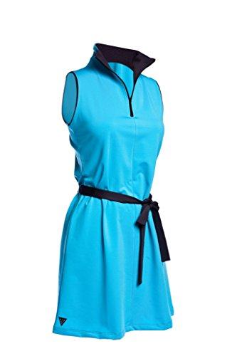 Vivacity Sportswear Jackie Women's Sleeveless Zip Dress with Carbon Collar & Removable Belt, Sizes XS-XL (X-Small, Turquoise-Carbon) (Sportswear Ladies Sleeveless)