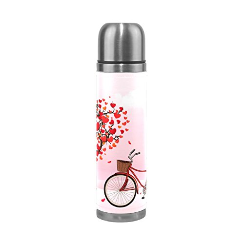 ALAZA 17 oz Happy Valentine's Day Bike Love Heart Tree Double Wall Vacuum Cup Insulated Stainless Steel PU Leather Travel Mug, Christmas Birthday Gifts for Mom Dad Boys Girls Kids Lover Friends by ALAZA