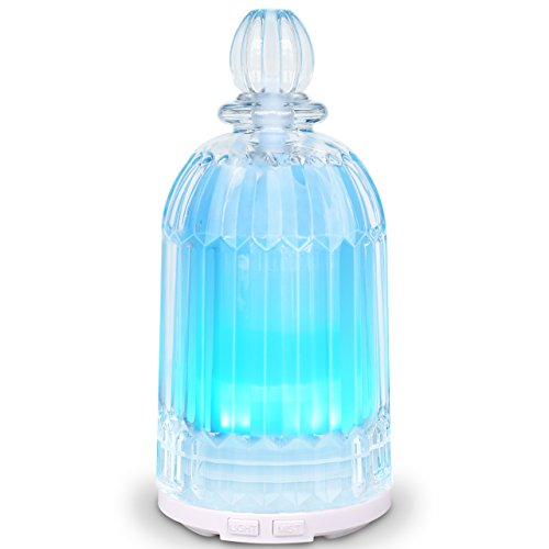 Clear Glass Diffuser - Essential Oil Diffuser, Diffusers for Essential Oils with Adjustable Mist Mode and Waterless Auto Shut-Off for Car Home Bedroom Office - 7 Color LED Lights Changing