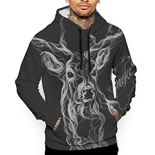 Smoke-Deer Man's Hooded Sweatshirt Hoodie Long Sleeve Pullover