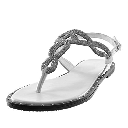 Angkorly Zapatillas Moda Sandalias Chanclas Correa Correa de Tobillo Mujer Strass Trenzado Tachonado Tacón Ancho 1 cm Blanco