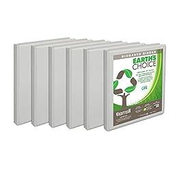 Samsill Earth\'s Choice Biobased Presentation Binder, 3 Ring Binder, Half Inch, Round Ring, Customizable, White, 6 Pack