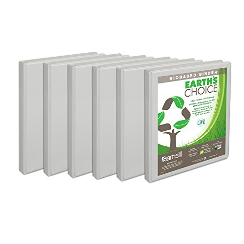 Samsill Earth's Choice Biobased Presentation Binder, 3 Ring Binder, Half Inch, Round Ring, Customizable, White, 6 Pack (Recycled Presentation Binder)
