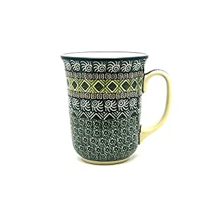Polish Pottery Mug – 16 oz. Bistro – Aztec Forest