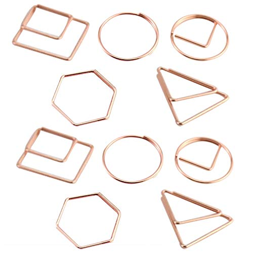 MoGist Geometric Shape Paperclips Metal Paper Clips Creative Bookmarks DIY Binding Invitation Postcard Wedding Greeting Card
