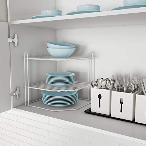 (Lavish Home 83-94 Two-Tiered Corner Shelf - Powder Coated Iron Space Saving Storage Organizer for Kitchen, Bathroom, Office or Laundry Room)