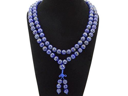 jennysun2010 Natural 10mm Lapis Lazuli Gemstone Buddhist 108 Beads Prayer Mala Long Necklace Multi-Purpose about 43(inches)