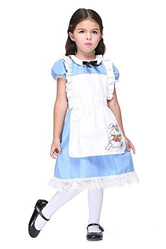 New Alice In Wonderland Costume (Deleme Alice in Wonderland Toddler's Costume Cosplay Dress For Girls Halloween Christmas (M(105cm-115cm)))