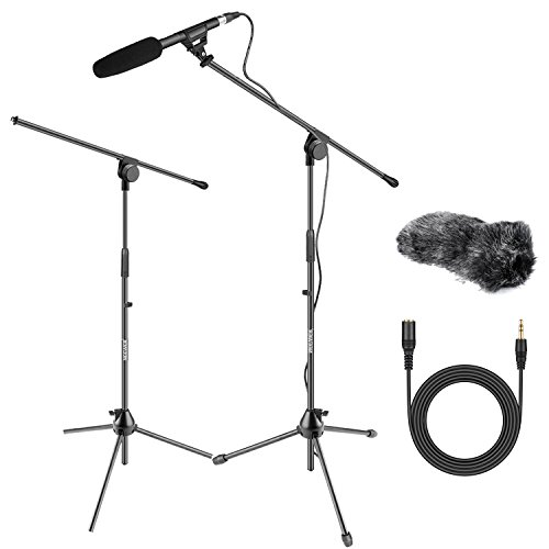 Female Socket 5/8 (Neewer Interview Video Microphone Studio Boom Kit - Condenser Shotgun Mic with Windscreen Muff, 2-pack Tripod Floor Stand with Boom, 29.5-feet Audio Cable for Studio Recording, YouTube, Film Video)