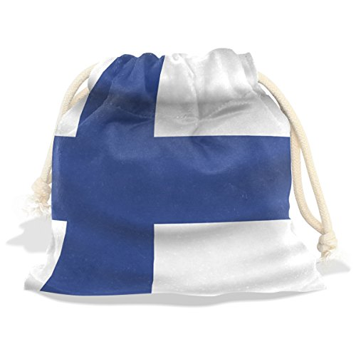 - CoolPrintAll Finland Flag Velvet Drawstring Gift Bag Wrap Present Pouches Favor for Jewelry, Coin, Holiday, Birthday, Party, 6X8 Inches