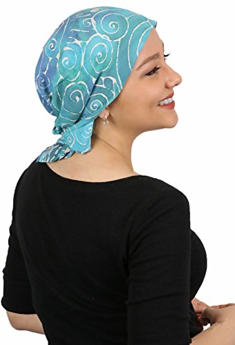 Chemo Scarves for Women Head Scarf Cancer Headwear Head Wrap Batik from Bali 27'' Square (Turquoise Swirl) by Hats Scarves & More