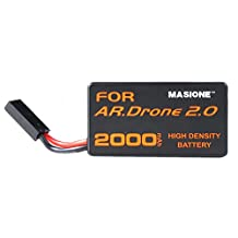 Masione Replacement Parrot AR.Drone 2.0 Power Edition Helicopter Battery 2000mAh 20C 11.1V LiPo