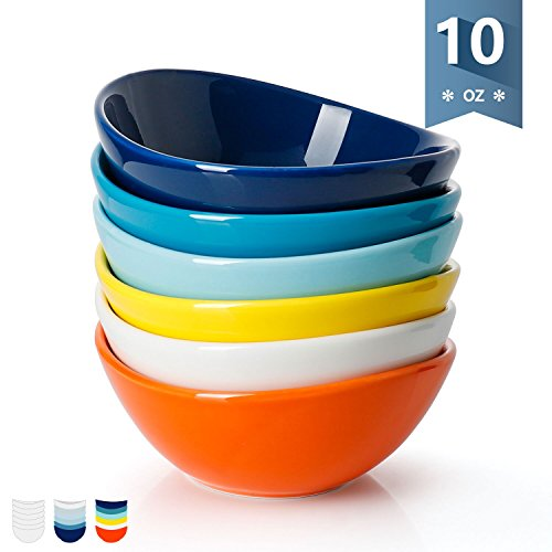Sweese 1107 Porcelain Bowls - 10 Ounce for Ice Cream Dessert, Small Side Dishes - Set of 6, Hot Assorted Colors for $<!--$19.99-->