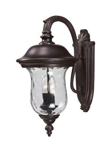 - Z-Lite 534M-RBRZ Armstrong Outdoor Wall Light, Aluminum Frame, Bronze Finish and Clear Water Glass Shade of Glass Material