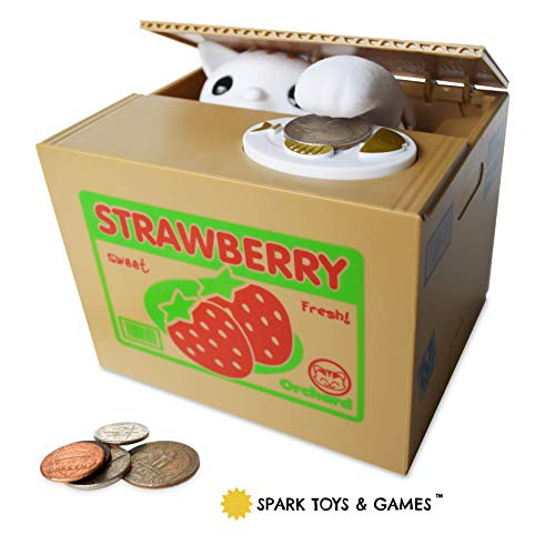 Stealing Coin Bank Kitty Cat by Spark Toys & Games - Cute Kitten Steals Coin Like Magic - Fun & Cute Piggy Bank for Kids