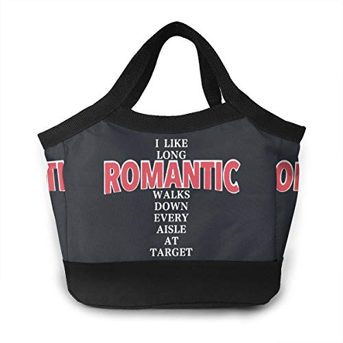 YVONNE WIDLAN Polyester Lunch Bag Tote Reusable Waterproof Lunchbox I Like Long Romantic Walks Down Every Aisle at Target Shopping Bag with Leak Proof Liner for Men, Women -