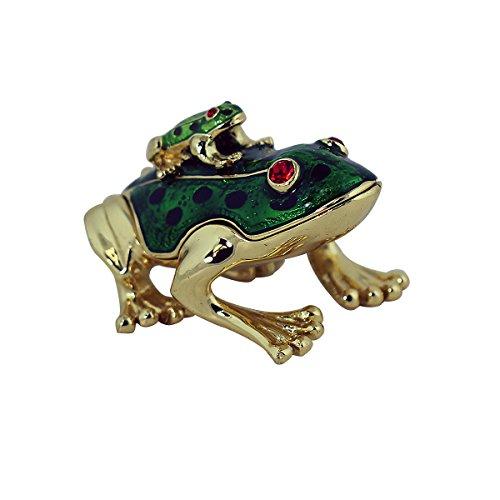Piggyback Frog Trinket Box, Green